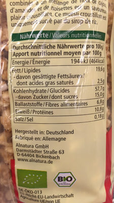 Crunchy aux noisettes - Nutrition facts