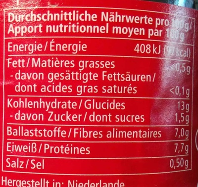 Haricots Rouges - Alnatura - 360 G - Informations nutritionnelles