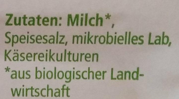 Butterkase aus Alpenmilch - Ingredients