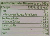 Butterkase aus Alpenmilch - Nutrition facts