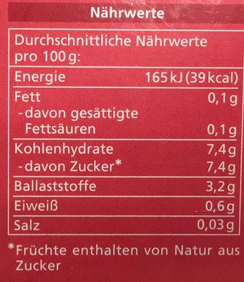 Myrtille non sucrées - Valori nutrizionali - fr