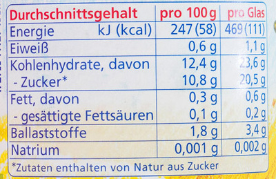 Pflaume Apfel-Banane - Informations nutritionnelles - de