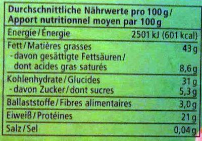 Cashew Mus - Informations nutritionnelles