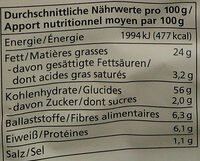 Chips im Kessel gebacken Rosmarin & Meersalz - Informations nutritionnelles - de
