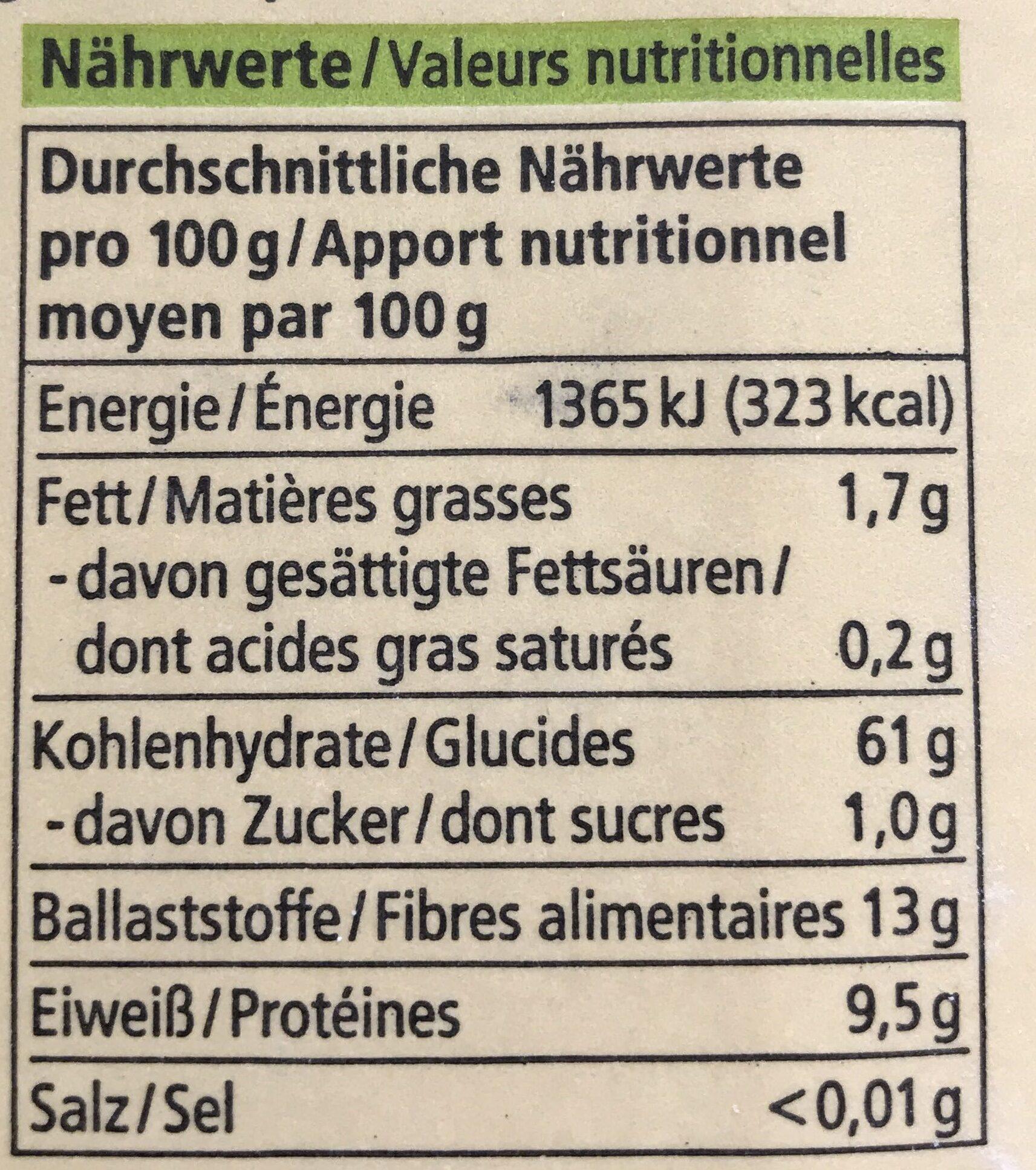 Roggen Vollkorn Mehl - Nutrition facts