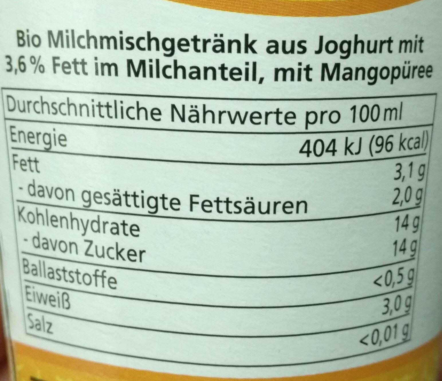 Mango lassi - Nutrition facts