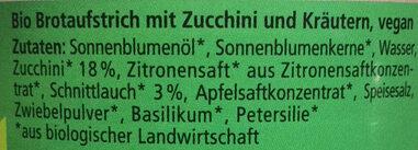 Streichcreme Gartenkräuter - Ingredients - de