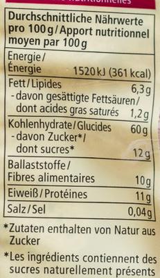 Rote Beeren Porridge - Valori nutrizionali