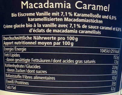 Macadamia Caramel - Nutrition facts