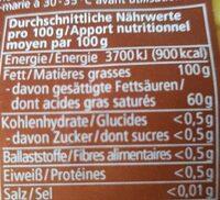 Cacaobutter - Nutrition facts - de