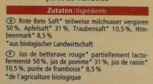 Obst- & Gemüsesaft Apfel Traube Himbeere Rote Bete - Inhaltsstoffe