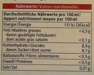 Obst- & Gemüsesaft Apfel Traube Himbeere Rote Bete - Nährwertangaben