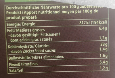 Gebratene Nudeln Thai Curry - Nutrition facts