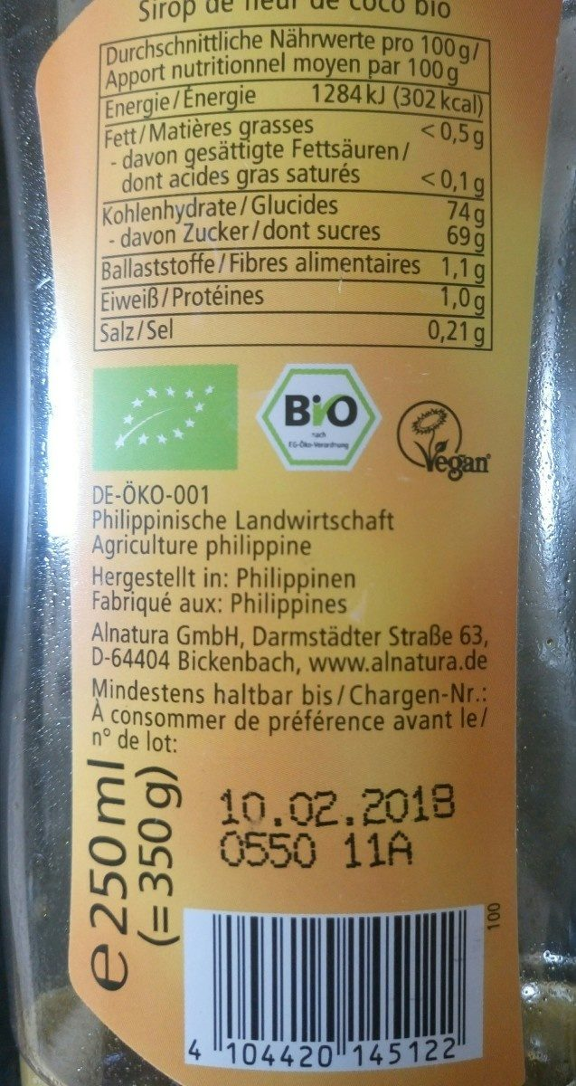 Bio Kokosblütensirup - Ingrédients - fr