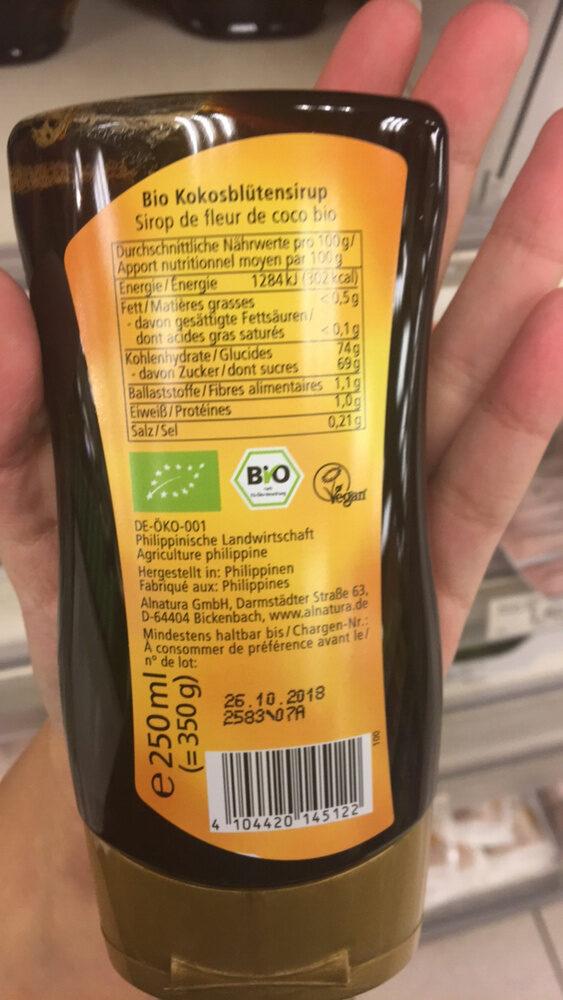 Bio Kokosblütensirup - Informations nutritionnelles - fr