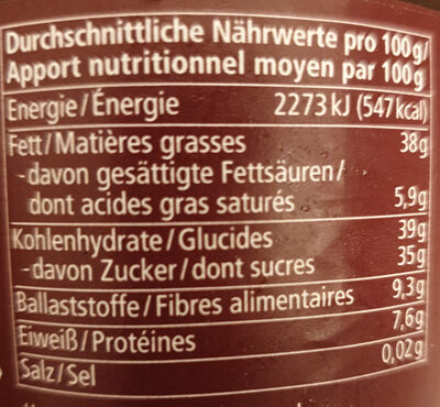 Zartbitter Kakao-Creme - Nutrition facts