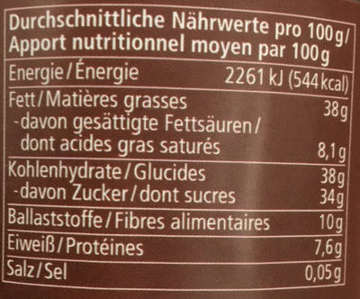 Zartbitter Kakao-Creme - Informations nutritionnelles