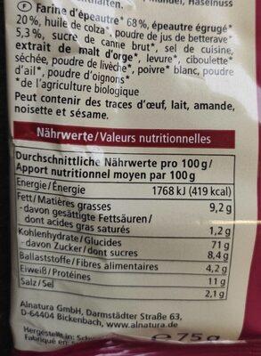 Rote bete cracker - Valori nutrizionali - de