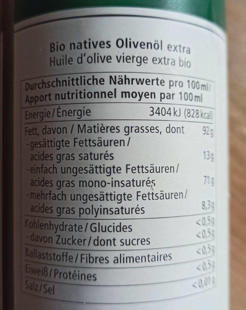 Huile d'olive vierge extra bio - Informations nutritionnelles - de