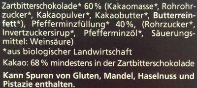 Pfefferminz Zartbitter - Ingredients