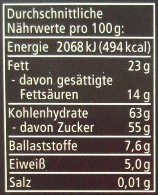 Pfefferminz Zartbitter - Nutrition facts