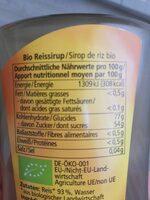 Reis Sirup - Informations nutritionnelles - fr