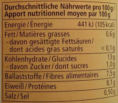 Weiße Bohnen - Nutrition facts - de