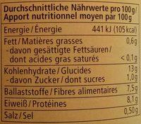 Weiße Bohnen - Informations nutritionnelles