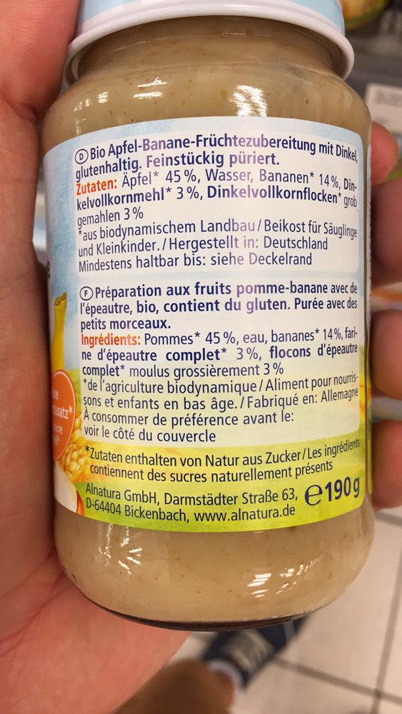 Pomme avec banane et épeautre - Ingredients