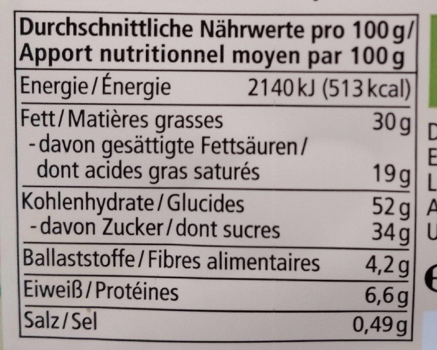 Oeufs à l'epautre et au chocolat - Nährwertangaben - de