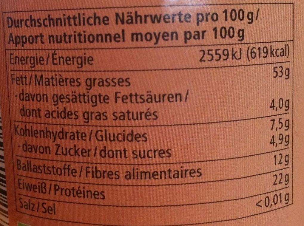 Mandel Mus Purée d'Amande Brune - Informations nutritionnelles - fr