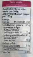 Müesli aux baies 750G - Informazioni nutrizionali - fr