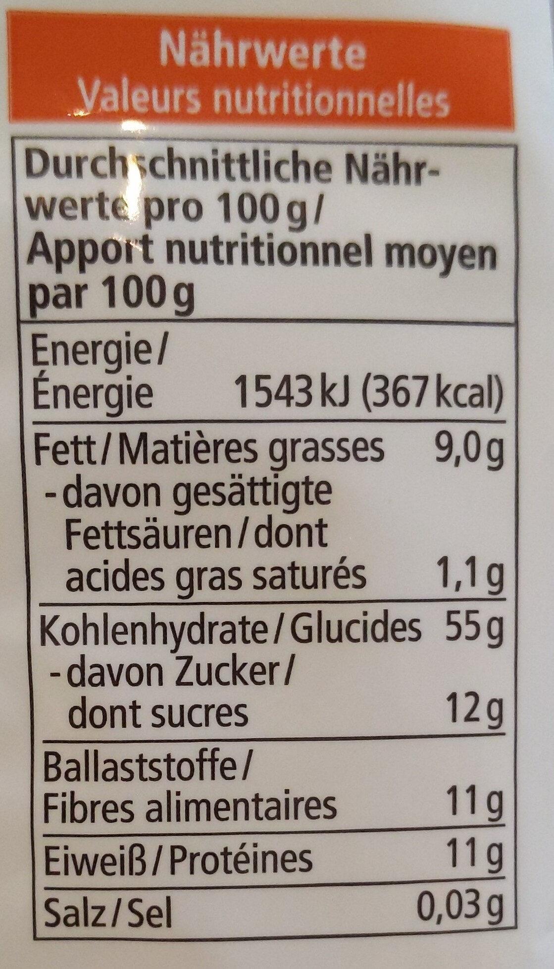 Maxi Müsli - Nährwertangaben - de
