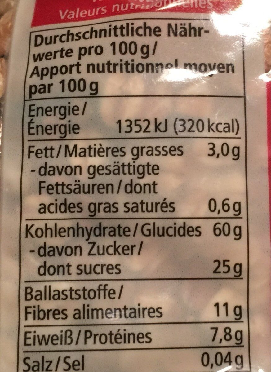 Alnatura Früchte Müsli - Nährwertangaben - fr