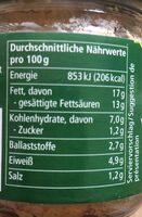 veganer Linsenaufstrich Leberwurst - Art - Nutrition facts