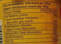Mandel Mus Weiß - Informations nutritionnelles