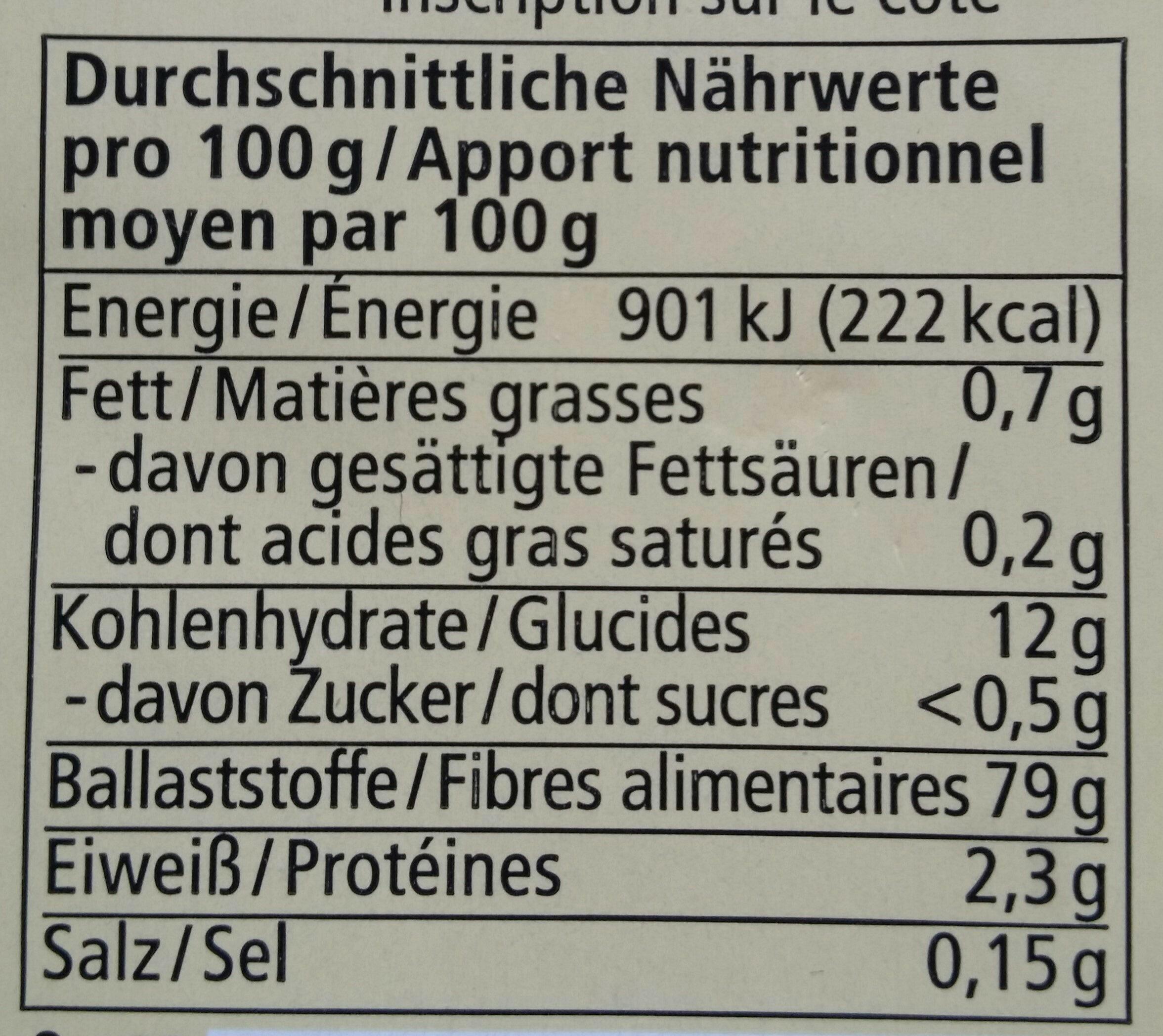 Alnatura Flohsamenschalen - Nutrition facts