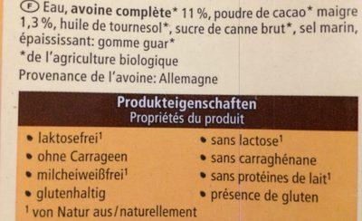 Hafer drink schoko - Ingredients