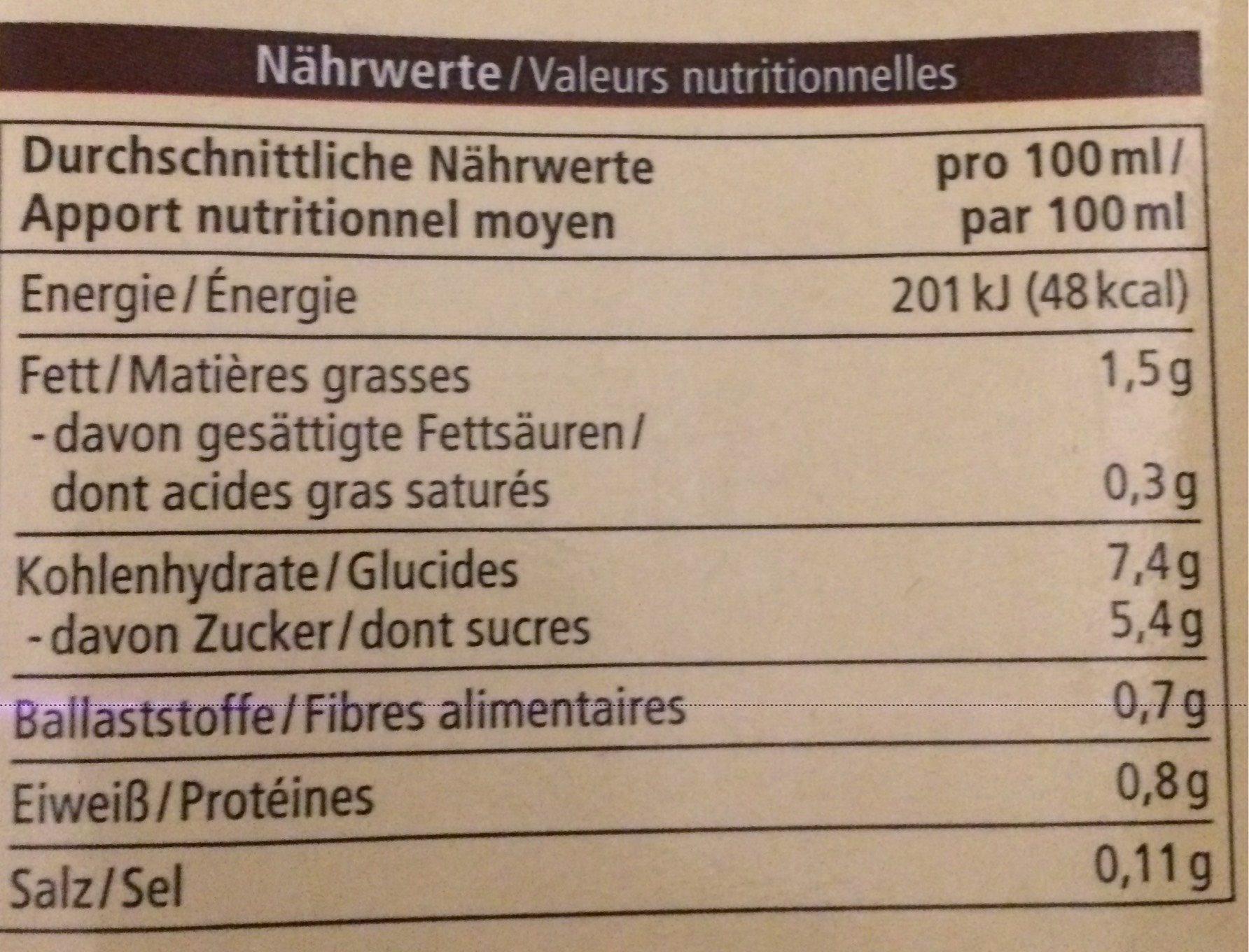 Hafer drink schoko - Nutrition facts