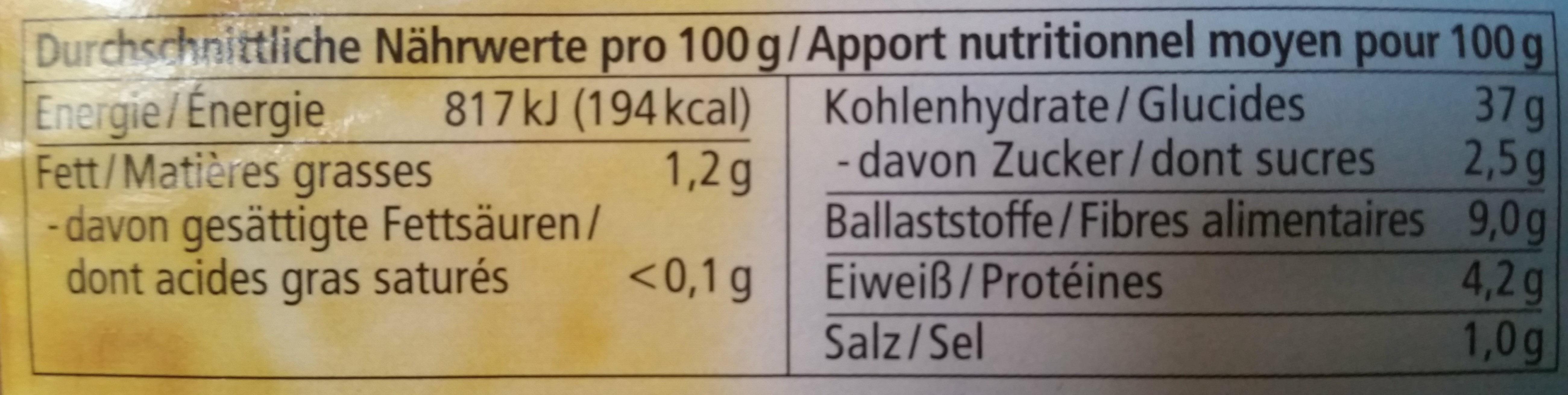Bio Roggenvollkornbrot aus Roggenvollkornschrot - Informations nutritionnelles - de