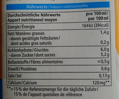 Hafer Drink Calcium - Informations nutritionnelles - fr