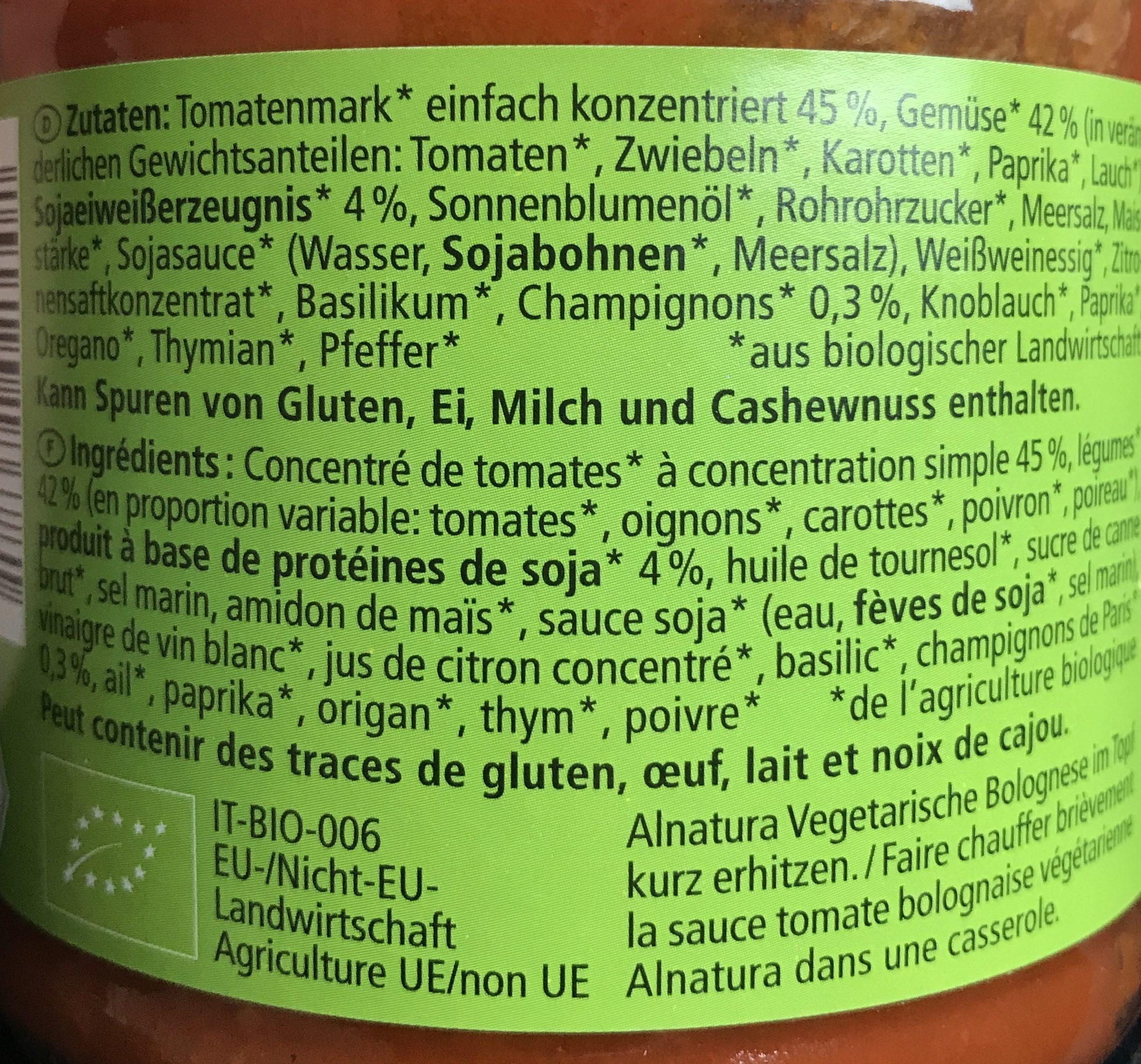 Bolognaise végétarienne - Ingrediënten - fr