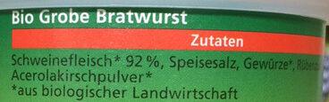 Grobe Bratwurst - Inhaltsstoffe