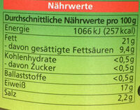 Grobe Bratwurst - Nährwertangaben