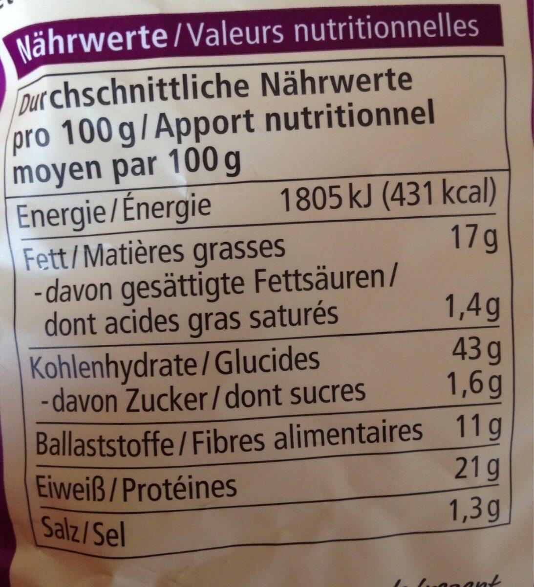 Linsen snack - Valori nutrizionali - fr