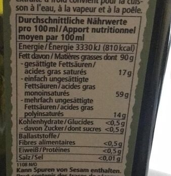 Natives Olivenöl extra - Informations nutritionnelles