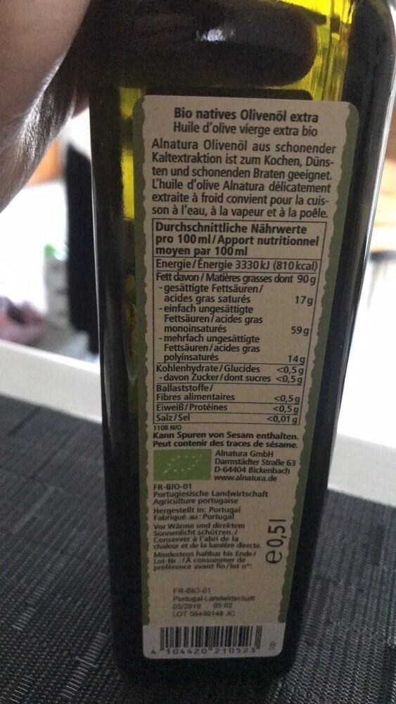 Natives olivenöl extra - Nutrition facts