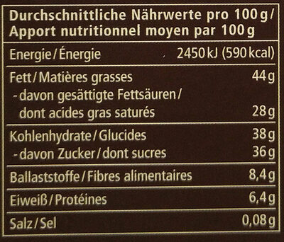 Zartbitter Kokos - Nutrition facts