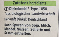 Dinkelmehl Type 1050 - Ingredients