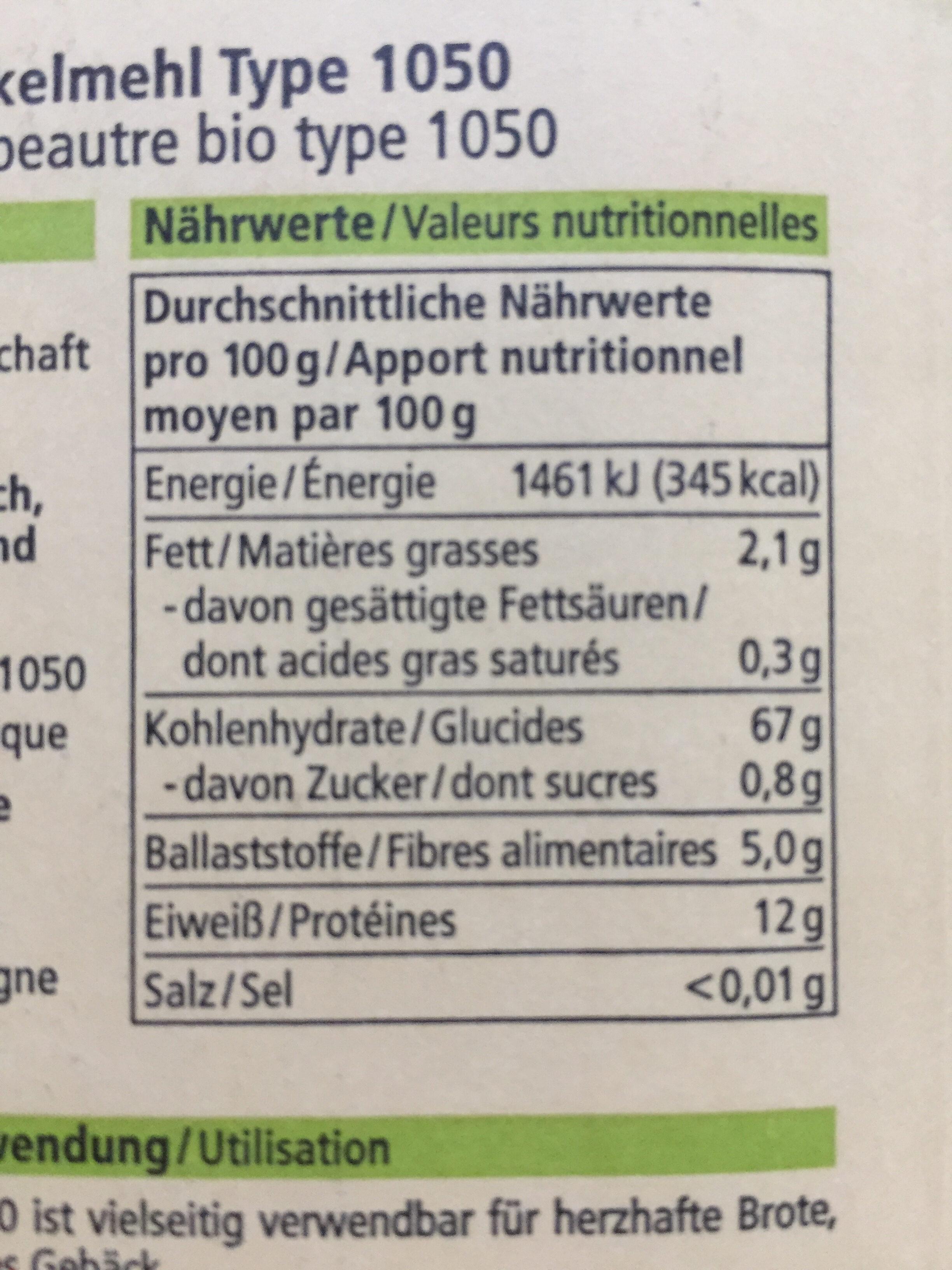 Dinkelmehl Type 1050 - Nutrition facts